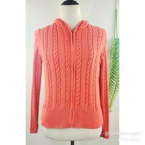 Ann Taylor Loft cable knit zip front hoodie MP